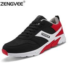 ZENGVEE Nuevos Hombres Ocasionales de los Zapatos de Invierno Cálido Hombres Al Aire Libre Con Cordones de Malla Más Tamaño Plana Zapatos Cómodos de Felpa