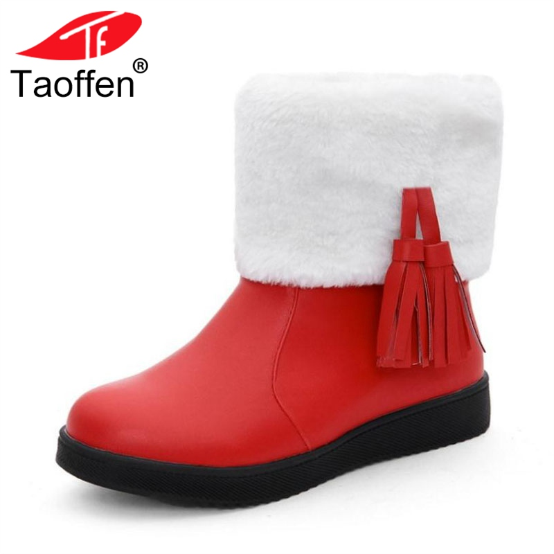 Taoffen Sexy Women Flats Snow Boots Fringes Thick Fur Warm Shoes Women Mid Calf Boots Party Club Office Lady Shoes Size 31-40 taoffen women genuine leather flats snow boots women metal buckle mid calf boots warm fur shoes for women footwears size 34 39