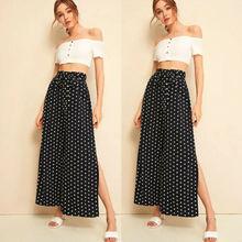 2019 Women Fashion Wide Leg Pants High Waist Loose Casual Baggy Pant Summer Style Black Dot Female Trousers