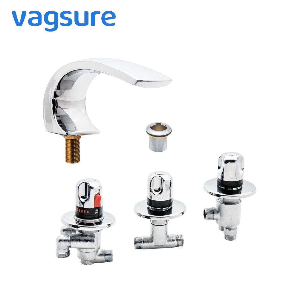 Brass Chromed Brass Cartridge Thermostatic Bath Waterfall Tap Mixer Faucet Set For Bathtub Shower And Water Massage