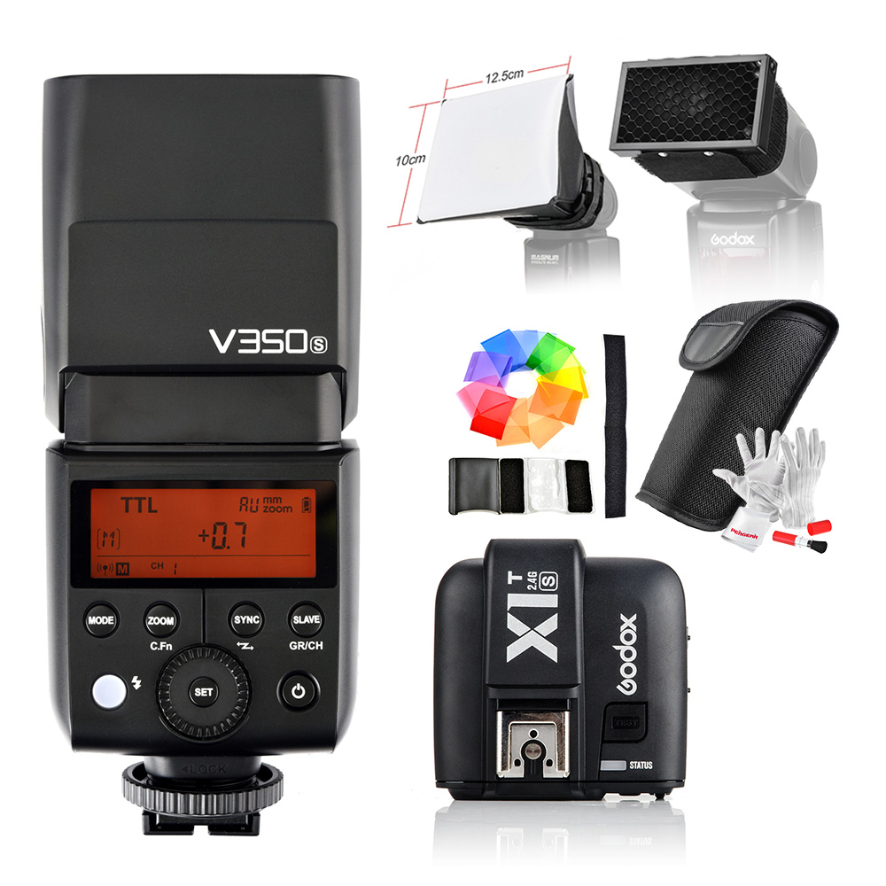 Godox V350S TTL HSS 1/8000s Speedlite Flash with Built-in 2000mAh Li-ion Battery + X1T-S Transmitter for Sony a7RII a7R a58 a99 2x godox v350s ttl hss 1 8000s camera flash with built in 2000mah li ion battery x1t s transmitter for sony a7riii a7s a77 ii