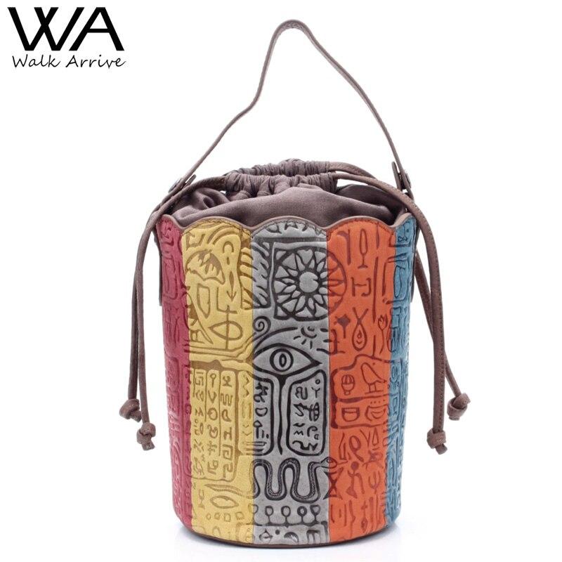 Walk Arrive Genuine Leather Women Tote Bag Shoulder Bag Brand Design Oracle Embossed Leather Handbag Fashion Purse