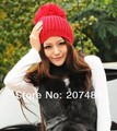 ladies''s fashion big fur button Knitted hat Beanie Cap Autumn Spring Winter multi colors option