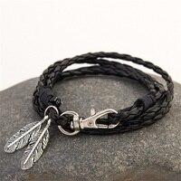 Mdiger fashion jewelry pu leather bracelets charm gift bangles multilayer feather bracelet accessories wedding men jewelry.jpg 200x200