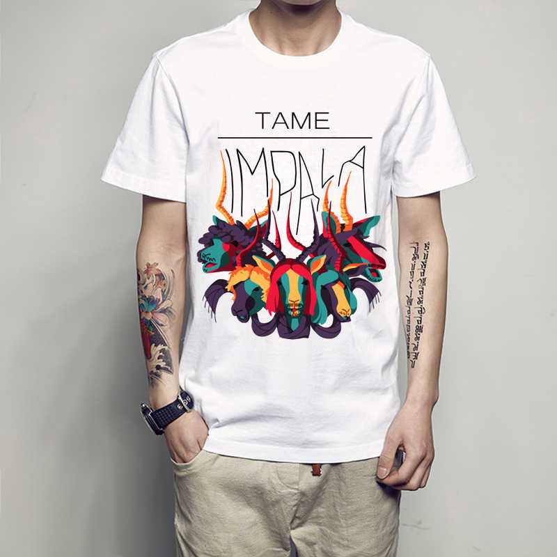 Newest 2019 Fashion Colorful Tame Impala T Shirt Men's Harajuku Animal T-Shirt Summer High Quality Short Sleeve Tops Tee Homme