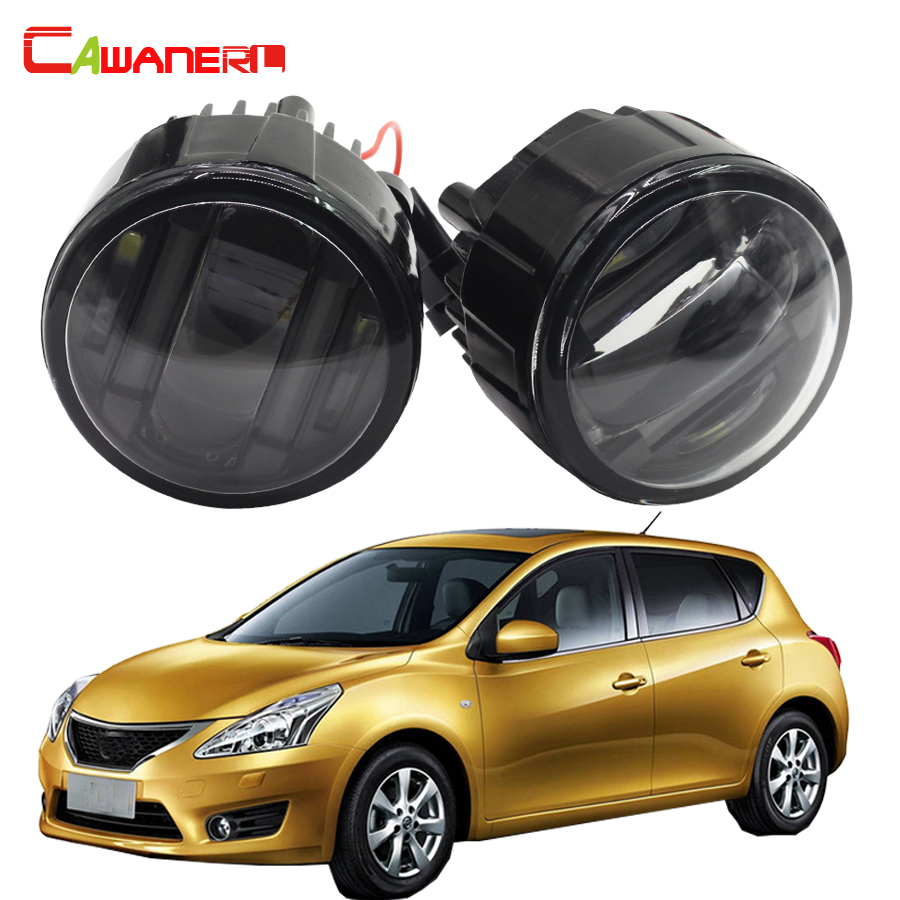 Cawanerl 2 x LED Fog Light DRL Daytime Running Lamp Car Styling For Nissan Tiida Hatchback Saloon 2007 Onwards cawanerl 1 pair car light led fog lamp drl daytime running light white 12v for subaru trezia hatchback 1 3 1 4d 2011 onwards