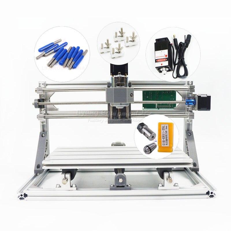 Russie Taxe Livraison Gratuite Démonté Mini CNC 3018 PRO + 5500 mw Laser Gravure CNC Fraiseuse Pcb Bois machine À découper