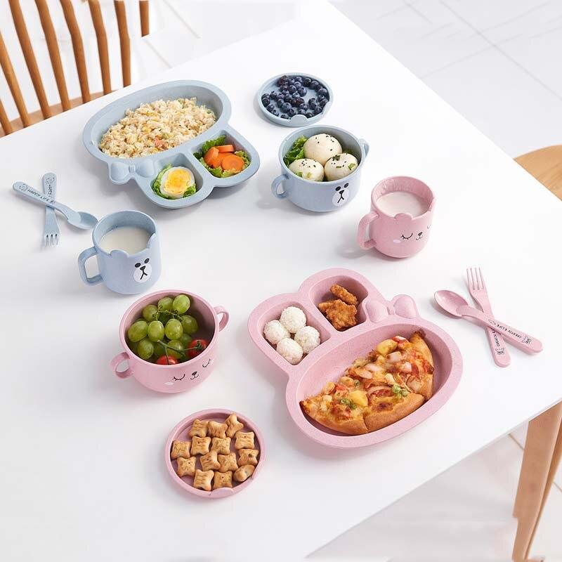 Weizen Faser Kinder Geschirr Set Baby Fütterung Platte Set Schüssel Tasse Löffel Gabel 5 Teile/sätze Cartoon Baby Geschirr Kinder Gerichte Geschirr Fütterung