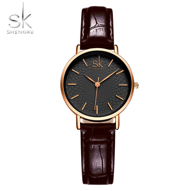 Shengke Fashion Women Watches Women Wristwatches Leather Band Watches Female Bra