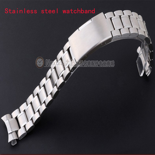 Watchband 18mm 20mm 22mm 24mm watch  Bracelets curved end stainless steel silver watch Accessories for watches Solid link