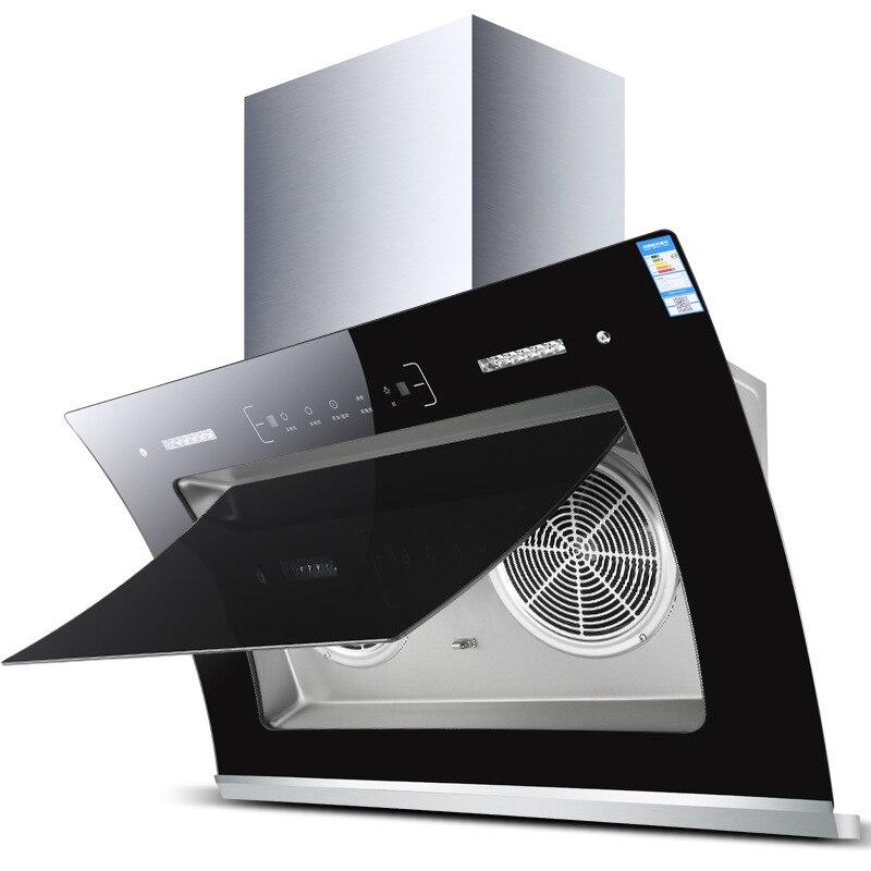 Grande gamme d'aspiration hottes cuisine Touchpad Intelligent nettoyage thermique côté aspiration Double moteur cuisine hotte aspirante échappement