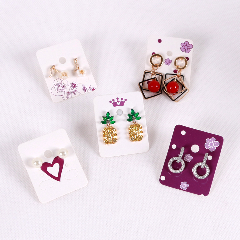 Hotsale 50pcs 3.8x4.8cm White Paper Earrings Card Jewelry Ear Studs Display Packaging Cards Rectangle Label Tag Jewelry Cards