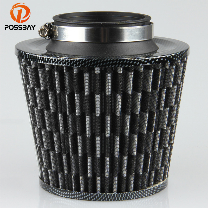 POSSBAY Universal Car Air Filter Cold Air Intake Filter Cleaner 75mm Washable Reusable Funnel Adapter Car Air Flow for VW BMW