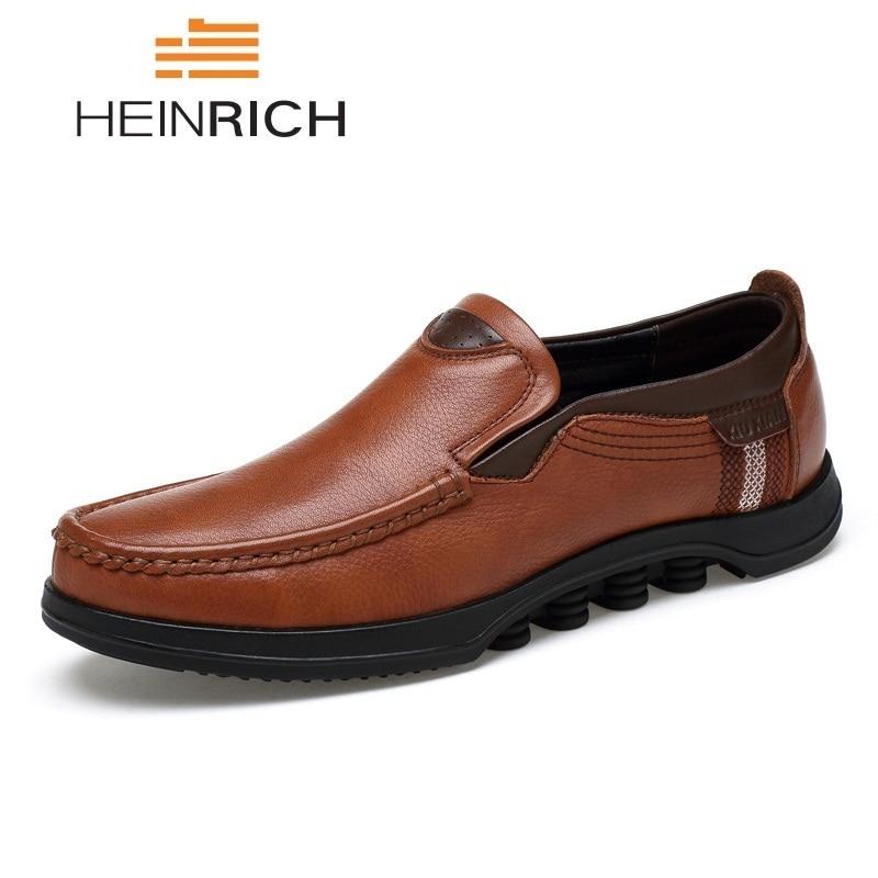 HEINRICH Men Shoes Big Size Men Genuine Leather Loafer Shoes Fashion Brand Leather Moccasin Mens Zapatos Hombre Casual CueroHEINRICH Men Shoes Big Size Men Genuine Leather Loafer Shoes Fashion Brand Leather Moccasin Mens Zapatos Hombre Casual Cuero