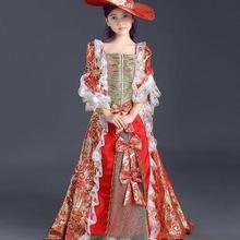 Детское средневековое платье с шапкой для девочек, королевское кружевное платье принцессы для сцены, цветочное средневековое платье Ренессанса, косплей, Венеция, cos
