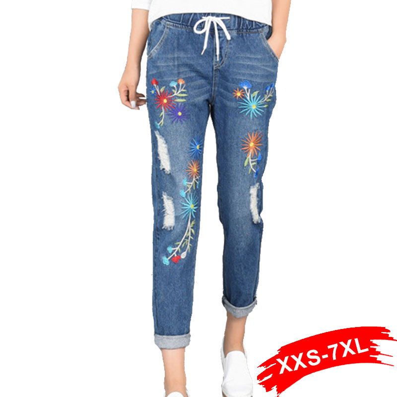 Plus Size Embroidery Hole Elastic Waist Loose Harem   Jeans   Oversized Ankle Length Women Denim Pants 4Xl 5Xl Xs 6Xl