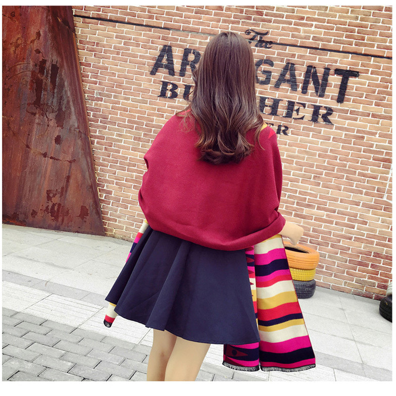 CW imitation cashmere diamond shaped lattice scarf shawl for women winter warm accessories jacket dress 200 * 70CM