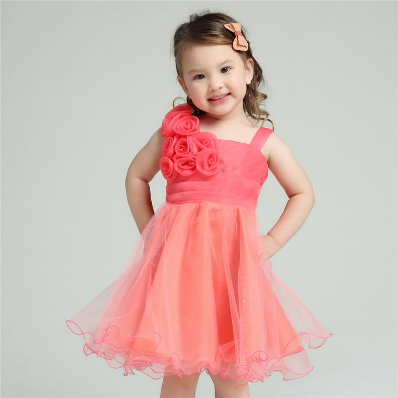 2017 Brand Formal Girl Dresses Children Red Wedding Princess