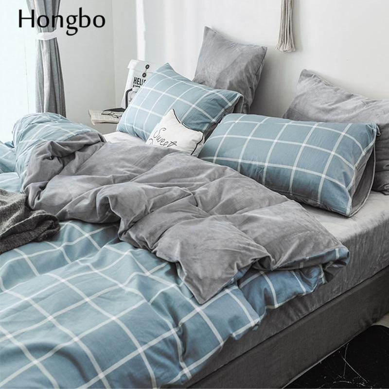 Hongbo зимний теплый клетчатый пододеяльник, Стёганое одеяло, Хрустальная фланелевая геометрическая решетка, печатный хлопок, пододеяльник, д... - 4