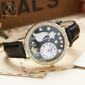 Miss Keke Ladies Cartoon-Watch Quartz Watches Diamond 3D Clay Cat Star Designer Watches Female Leather Casual Wristwatch 1012