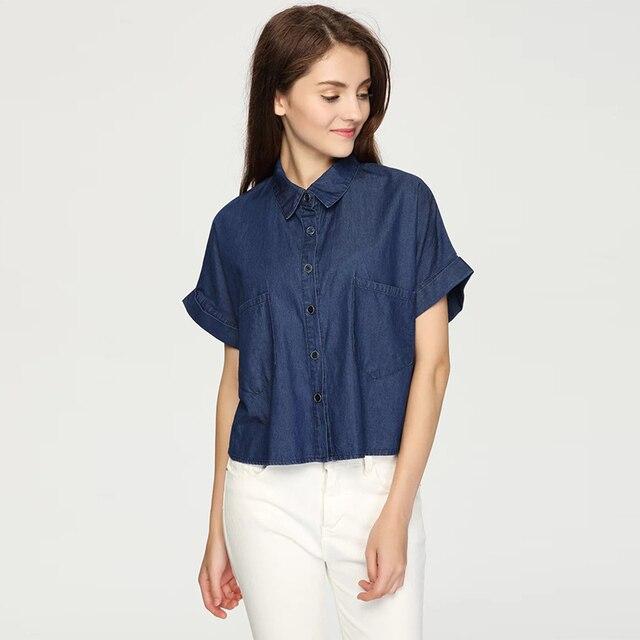 34f0204149 Lesisure Blusa Jeans Feminina Manga Curta Lapela Camisa Curta Femininos  Mulheres Mais Mulheres do Tamanho Encabeça