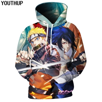 YOUTHUP 2018 New Design 3D Hoodies With Hooded Men Sasuke Print 3D Sweatshirts Naruto Anime Hoodies Men Streetwear Plus Size 5XL