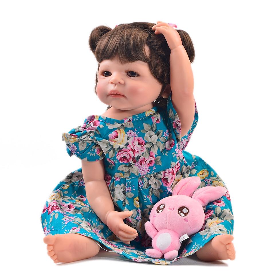 Adorable 55 cm de silicona completa Reborn Baby Dolls realista recién nacido bebé niña 22 pulgadas de moda bebé muñeca juguetes para niños regalos de cumpleaños-in Muñecas from Juguetes y pasatiempos    1