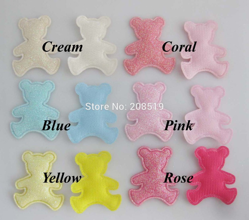 PA0067 Animal Bear Patches 35mm*30mm 6 Colors available Mix 120pcs children Clothes/hat/headwear Ornament Padded Felt Crafts