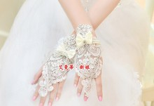 Free Shipping 100% Handmade Stunning Fingerless Wedding Gloves Bridal With Beadings BG010