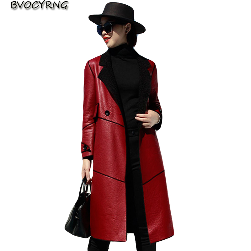 Long   leather   Jacket women 2019 new winter thicke lamb fur fur coat female Leisure plus size windbreaker ladies warm   leather   tops