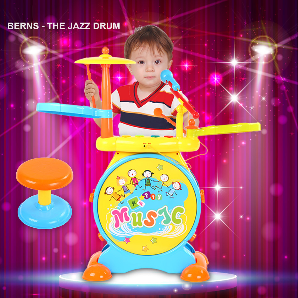 Beiens Electric Jazz Drum Set Learning Educational Development Music Toy Learning Toys with light and music for Children 36M+ kawo kids beats flash light toy drum set with adjustable sing along microphone