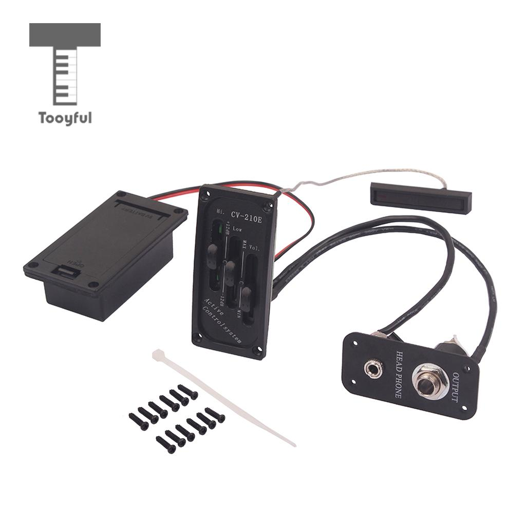 Tooyful 1 Set Adjustable Silent EQ Piezo Pickup Preamp for Electric Violin Fiddle String Instrument Parts Black