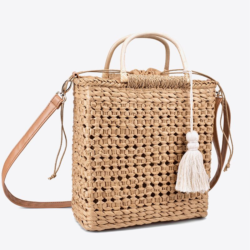 2 Color Hollow fringed woven straw bag Wooden handle natural color shopping bag Woman fashion tassel messenger bag handbag