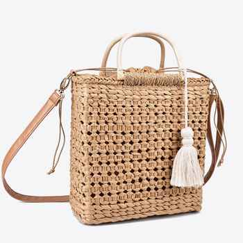2 Color Hollow fringed woven straw bag Wooden handle natural color shopping bag Woman fashion tassel messenger bag handbag - DISCOUNT ITEM  22% OFF All Category
