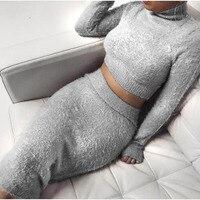Autumn 2pcs Set Women Bandage Suit Long Sleeve Fleece Crop Top Pencil Midi Skirt Solid Bodycon