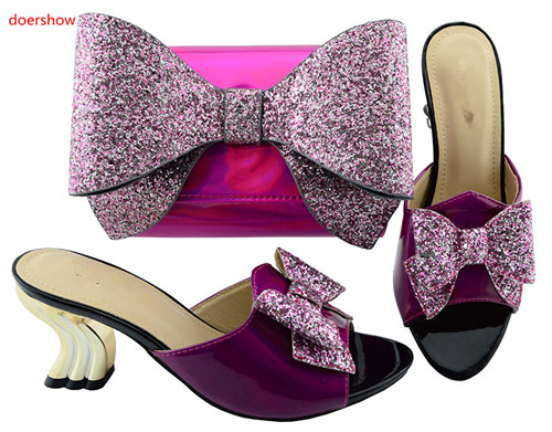 doershow Matching Shoes and Bag Set In Heels African Shoe and Bag Set for Party In Women Italian Shoes with Matchingbag SBL1-32 doershow italian matching shoes and bag set african wedding shoe and bag set italy shoe and bag set summer women wi1 8