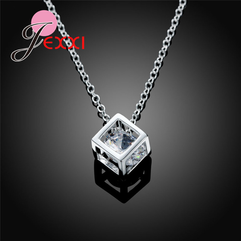 925 Sterling Silver Necklace With Square Clear Crystal Woman Pendant Necklace Nice Angle Wing Design Wedding Party Jewelry in Chain Necklaces from Jewelry Accessories
