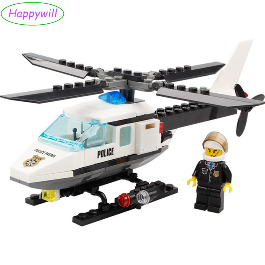 Happywill Hot Building Blocks Police Station Building Blocks 102pcs Helicopter Model Blocks Educational Playmobil Toys For Child