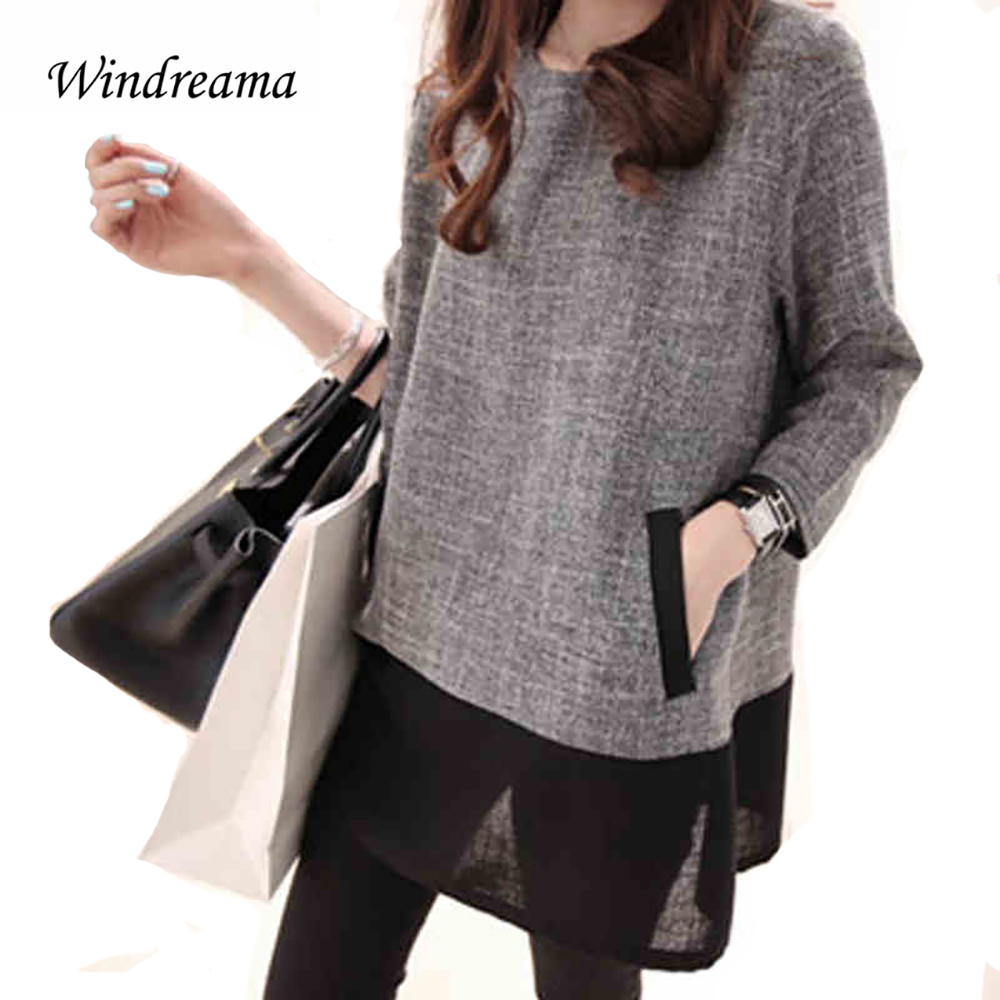 Windreama Plus Size Women Loose Blusas O-Neck Blouse Three Quarter Sleeve Blouses Gray White Women Clothing Tops Camisa Feminina ...