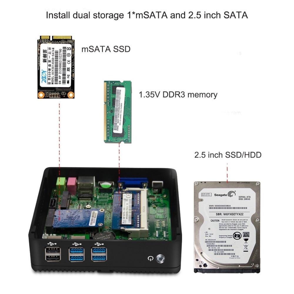 Image 3 - HLY Fanless Mini PC Intel Core i5 4210Y i7 4610Y Computer HD Graphics Windows 10 VGA HDMI Best Minipc Linux Thin Client KomputerMini PC   -