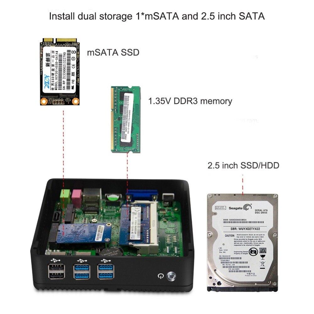 Image 3 - Lzż Mini PC Intel Core i3 4010Y i5 4210Y i7 4610Y minikomputer bez wentylatora HD Graphics 4200 komputera PC z systemem Windows Mini VGA HDMI 6 USBMini PC   -