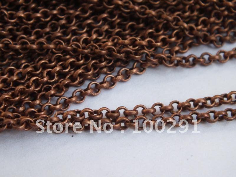100 м/лот 4 мм 4 мм DIY выводов античная медь цепи Роло Fit ожерелье ювелирных изделий Никель