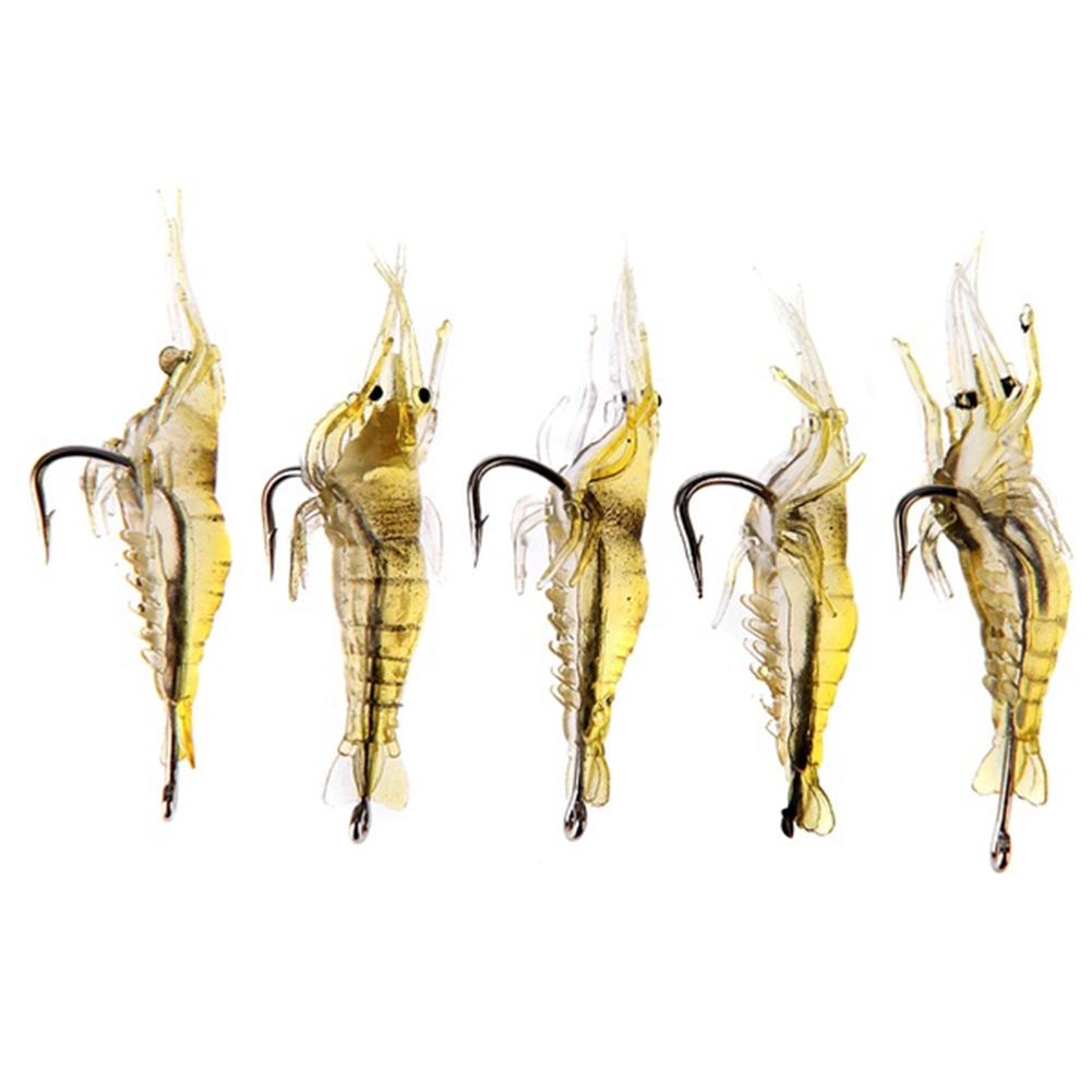 5pcs/lot Soft Silicone Simulation Fishing Lure Shrimp Prawn Bait Artificial Bait With Swivel Yellow Fishy Smell Single Hook 4cm 1pcs 8cm 5g luminous simulation prawn soft shrimp floating shaped worn fake lure hook isca fishing lure artificial bait