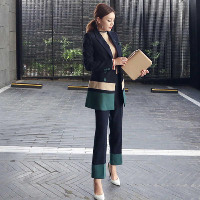 2018 ロングセクションパンツスーツ女性カジュアルオフィスビジネススーツフォーマルなワークウエアセット制服スタイルエレガントなパンツスーツ C306