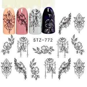 Image 2 - 12 pçs decalques de água jóias florais adesivos de unhas geometria preta oco projetos sliders para unhas decoração manicure JISTZ766 778