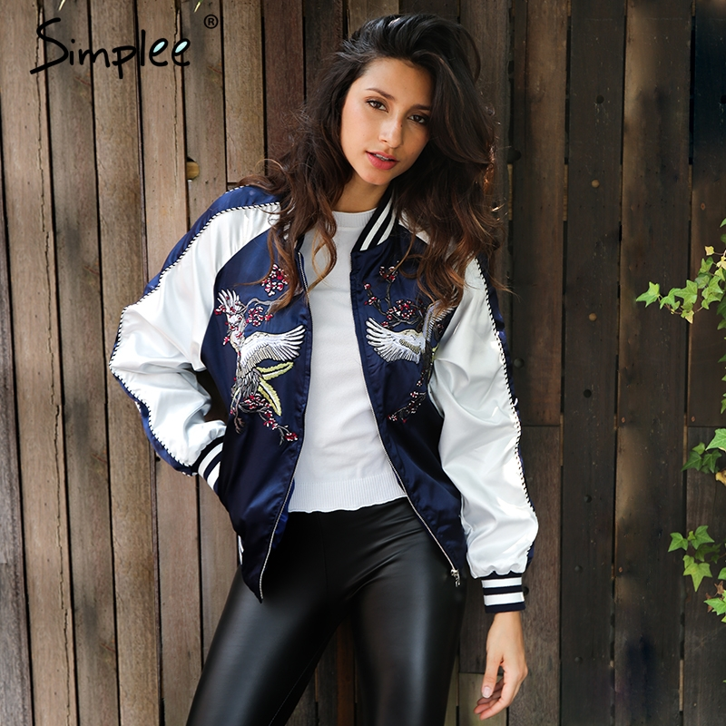 Simplee Embroidery streetwear   jacket   coat Cool satin   basic     jacket   women Autumn winter casual baseball   jackets