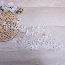 20 Pcs Embroidered Flowers Lace Applique White Trim High Quality Fabric Craft Accessories For Weding Decoration