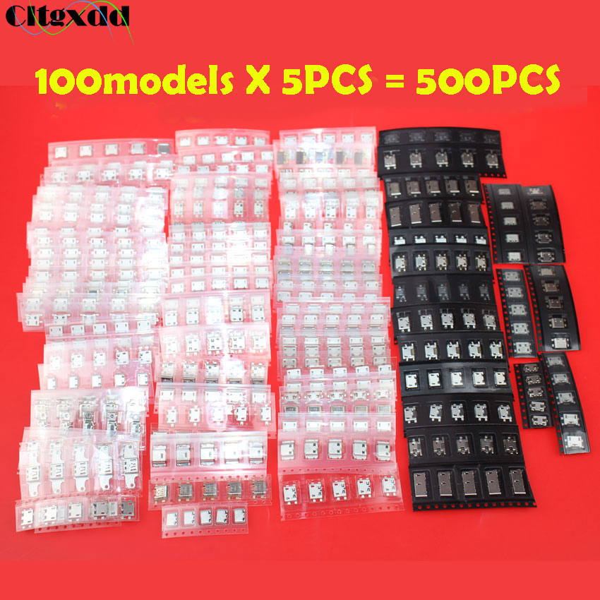 Cltgxdd 100models 5pin Micro USB Connector,USB Jack Female Socket Mix SMD DIP V8 Port For Lenovo Samsung Xiaomi Huawei Nokia Ect