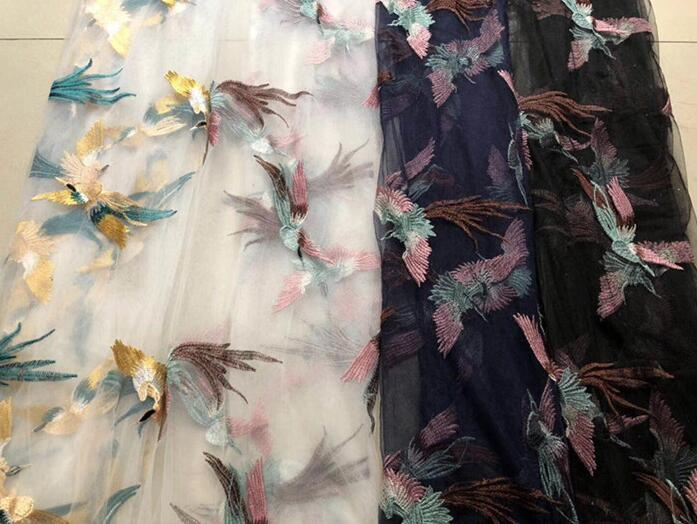 Fashion sexy Phoenix Bird Polyester embroidery Mesh lace fabric Plant flower wedding dress costume DIY patches fabric A033 in Fabric from Home Garden