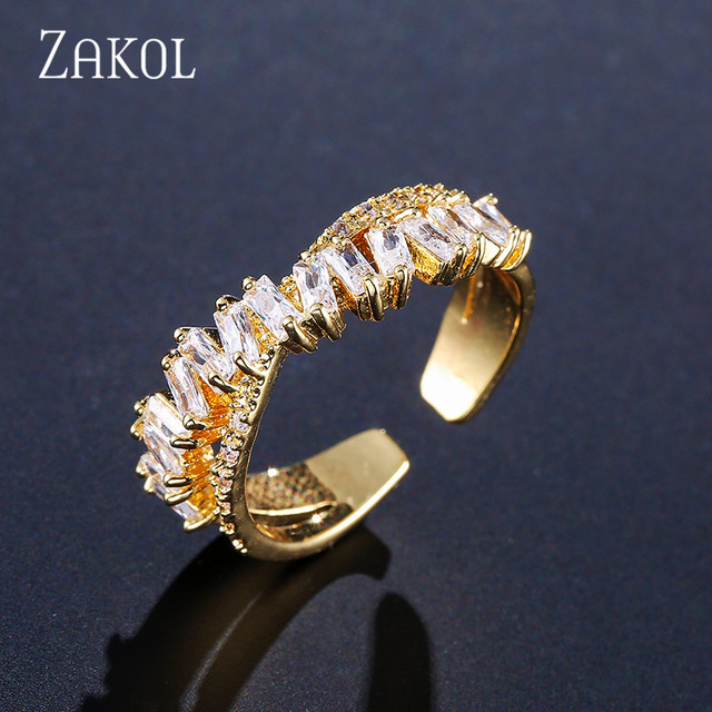 ZAKOL Fashion Multi-layered Baguette CZ Zirconia X Shape Open Rings Cross Adjustable Ring For Women Party Jewelry FSRP222